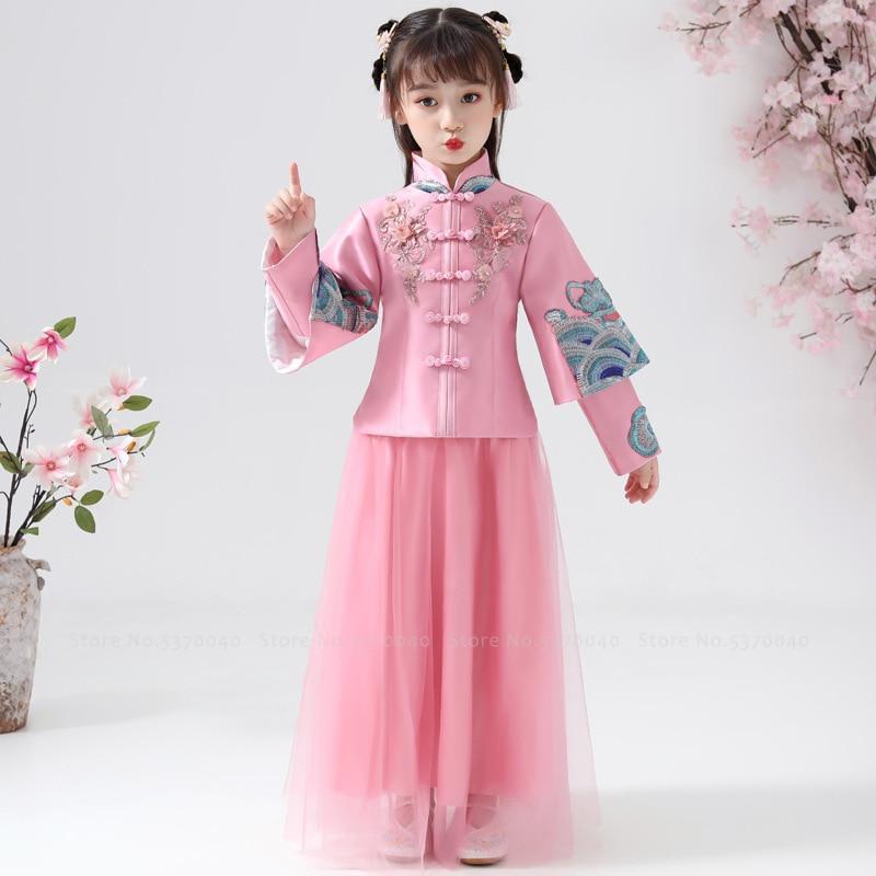 تشيباو تانغ الصيني التقليدي للبنات ، شيونغسام ، هانفو ، أكمام طويلة ، بدلة رأس السنة الجديدة ، فستان أميرة للأطفال