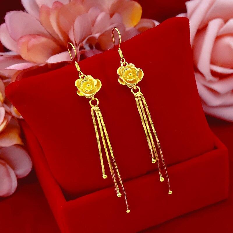 Corea pendiente de moda de mujer 24K oro gota pendientes con Clip para oreja con borla oro amarillo Rosa Flores pendientes de cumpleaños Mujer