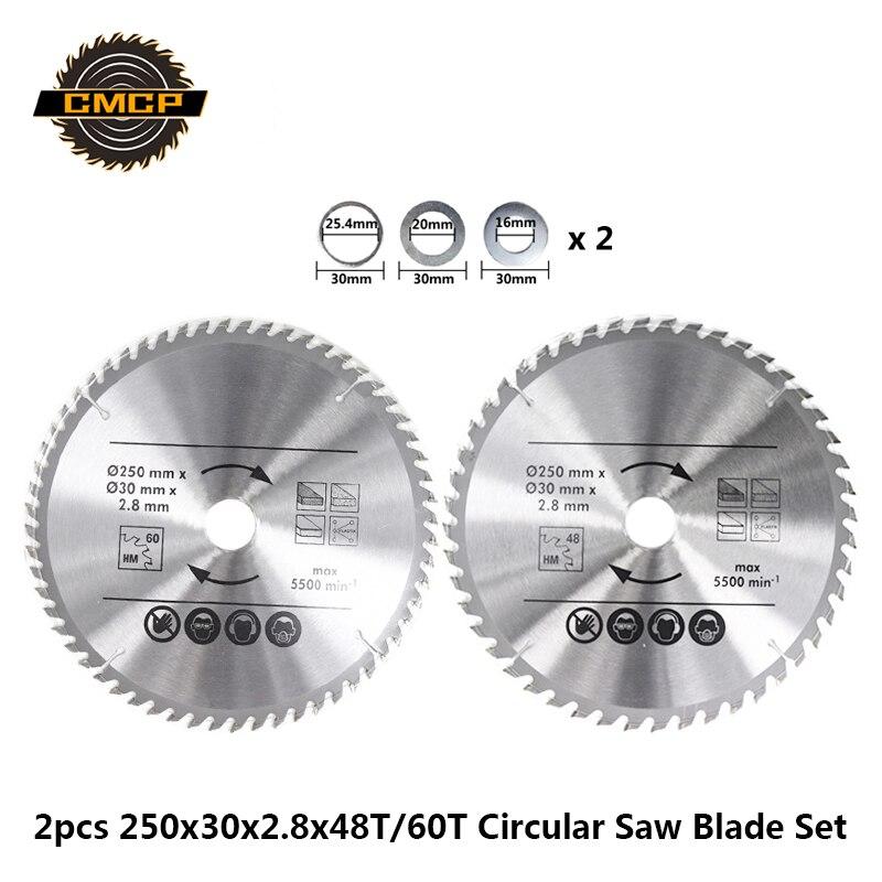 2 uds 250x2,8x30mm 48 T/60 T hoja de sierra para madera Set TCT hoja de sierra Circular para herramienta eléctrica disco de corte de carburo