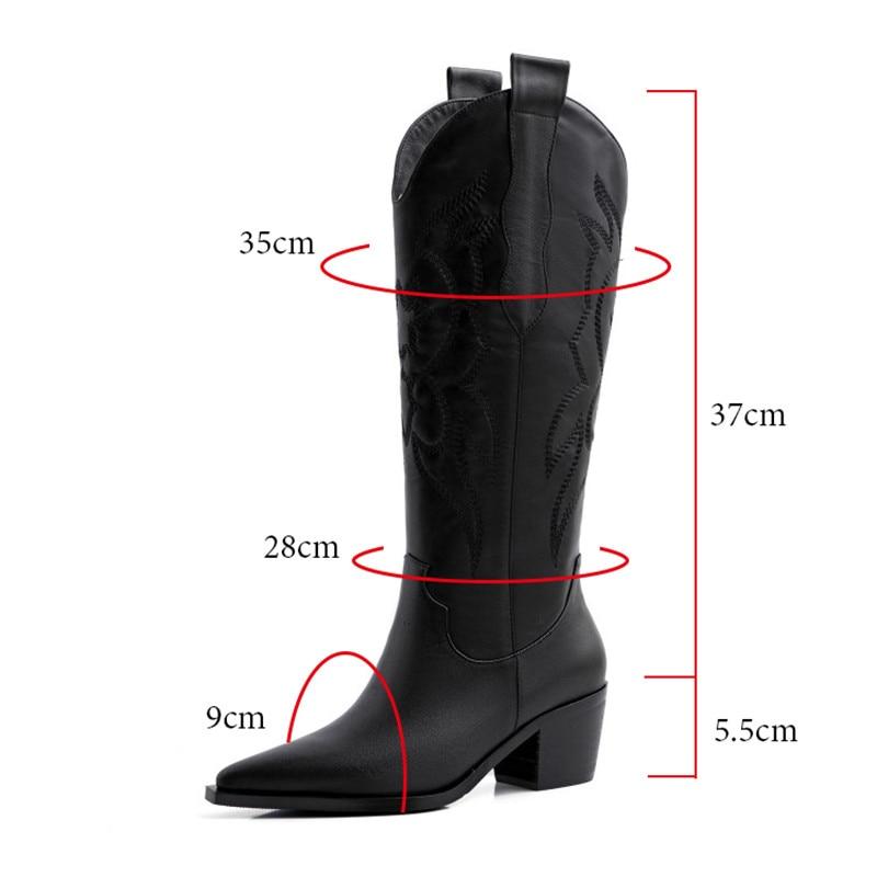 Botas de vaquero occidental con puntera en punta y Lengüetas para mujer, botas negras para otoño e invierno, botas de moto vaquera para mujer