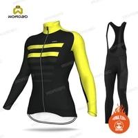 women cycling jersey set thermal fleece winter long sleeve clothing female road bike team training uniforms ride sportswear suit