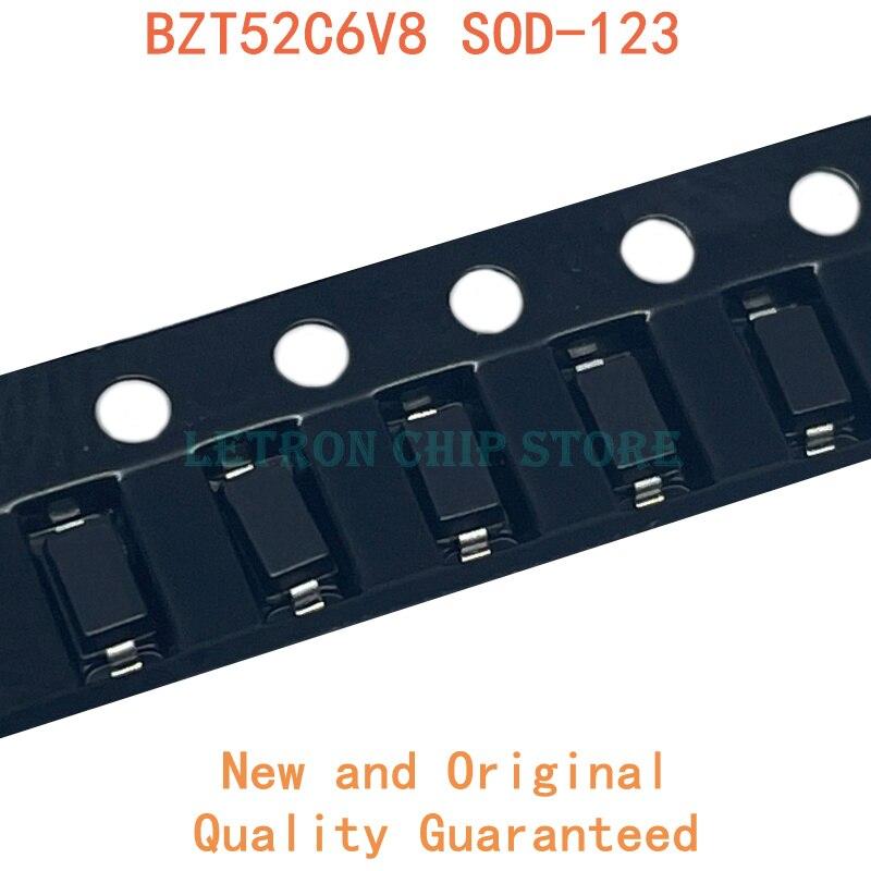 100 pces bzt52c6v8 sod123 bzt52c 6.8v wb sod-123 1206 diodo smd zener novo e original