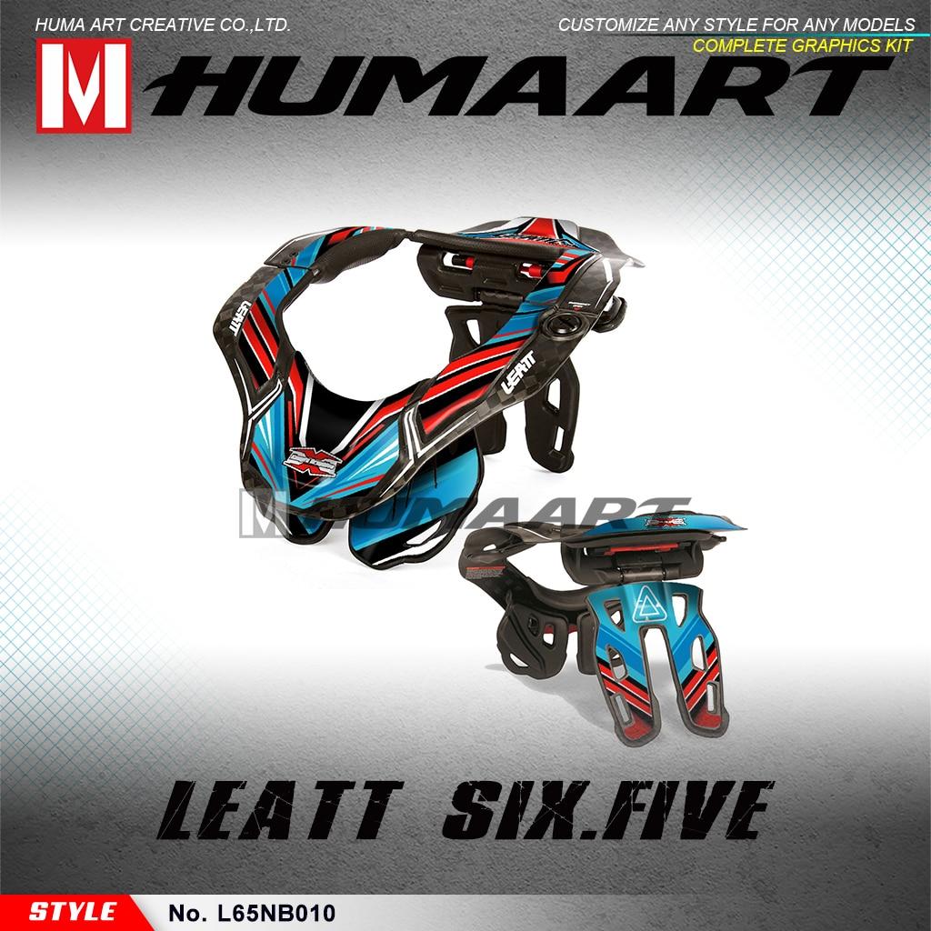 HUMAART MX Racing Graphics Kit de calcomanías adhesivas a prueba de agua para Leatt GPX 6,5 collarín GPX6.5 Six Five (estilo n° L65NB010)