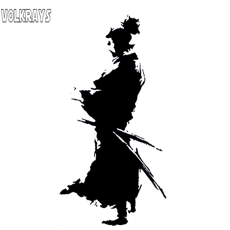 Volkrays Fashion Car Sticker Samurai Design Ninja Oriental Sword Accessories Reflective Vinyl Decal Black/Silver,22cm*11cm