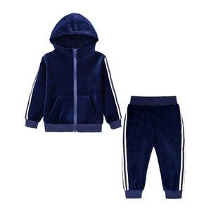 Fashion Winter Children's clothing Boys Sportswear Gold Velvet Kids Girl Clothing Sets Long Sleeve Hooded Tops+Pants 1-7 Years