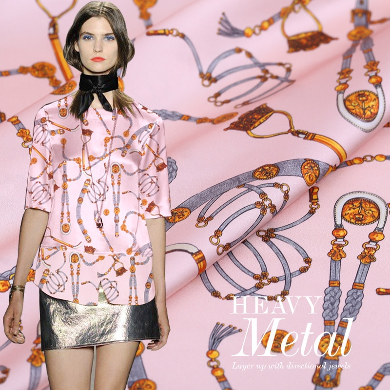 Tela de seda elástica para pintura digital de cadena rosa para Vestido de satén bazin riche getzner tissus, telas de tela de Metro australiano, tejidos