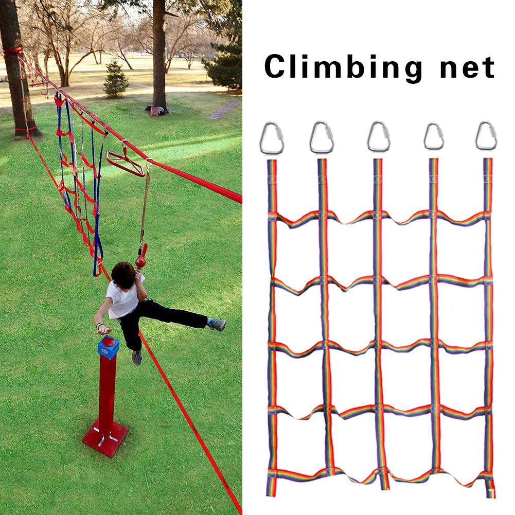 Cinta de arco iris para exteriores Red de escalada para niños Red de entrenamiento de nylon resistente física y atlético para entrenamiento físico