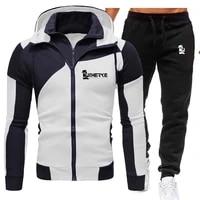 mens set autumn and winter zipper mens sweatshirts solid jacket male sweatsuit letter print tracksuit sportswear
