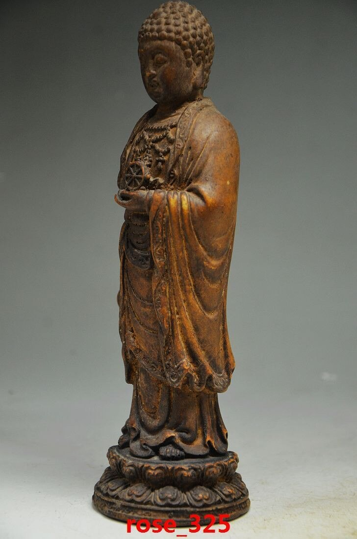 Exquisita piedra de roca NATURAL china estatuas talladas una mano-estatua de Buda...