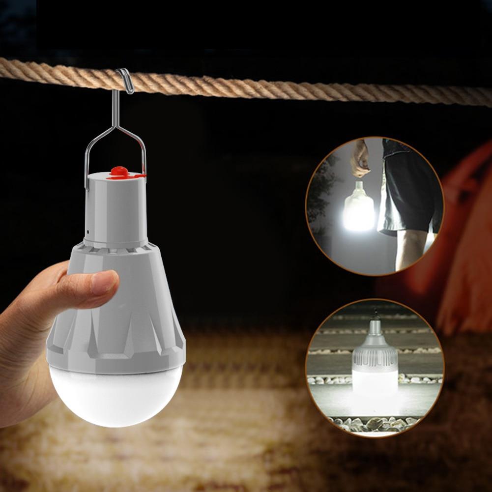 Portable USB Solar Emergency Light Bulb Waterproof Outdoor Camping Tent Accessories Courtyard Garden Hanging Nightlight