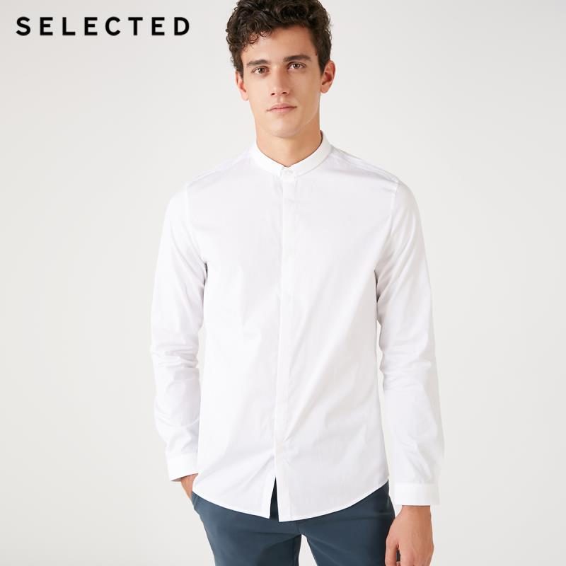 SELECTED Mens 100% de algodón de corte delgado de negocios-casual Camisa de manga larga S   418405523
