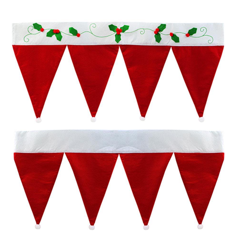 Decoración navideña de Papá Noel, sombrero, sombrero, cortina cenefa para decoración del hogar, Festival