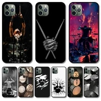drums rock phone case cover for iphone 12 pro max 11 8 7 6 s xr plus x xs se 2020 mini black cell shell