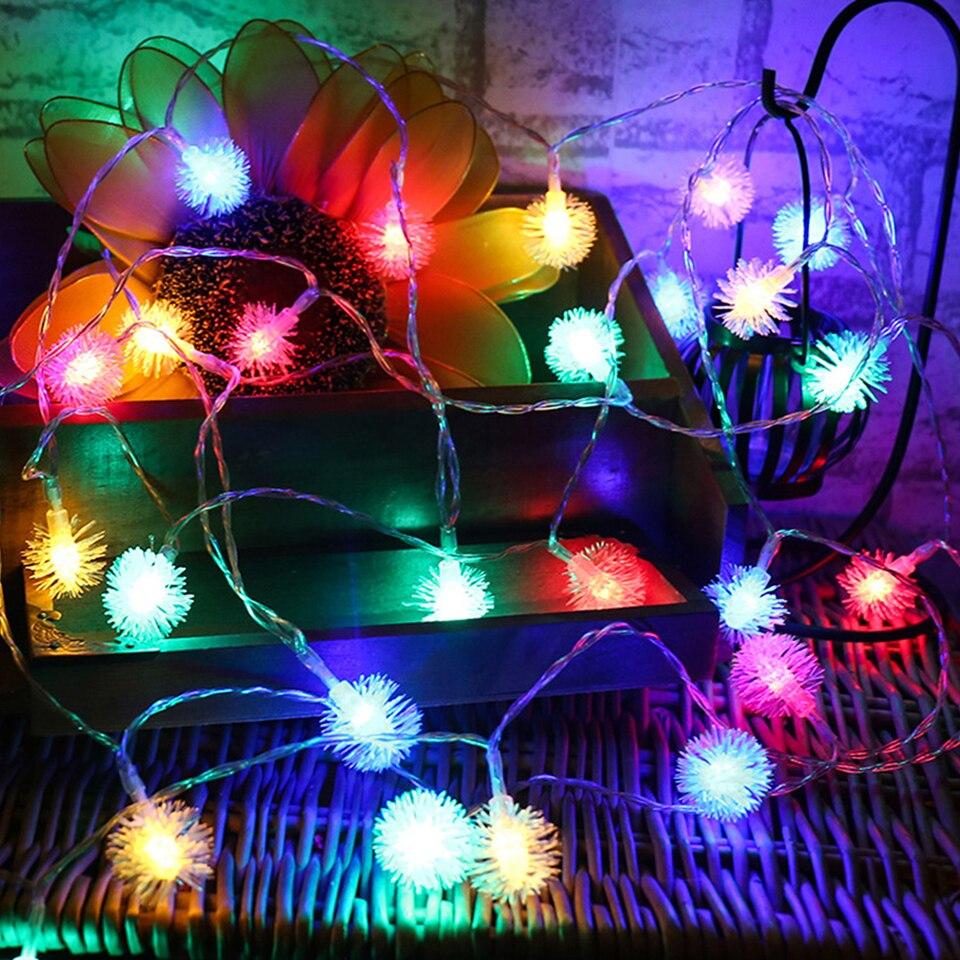 Cadena de luces Led de 220V Luz de hadas de enchufe europeo 10M/20M/30M/50M lámpara de cadena de Navidad bombilla impermeable boda jardín decoración al aire libre