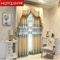 european style luxury elegant high quality embroidered curtains for living room window beige gray bedroom kitchen custom curtain