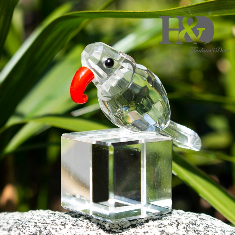 H&D Lovely Woodpecker Crystal Figurines Glass Birds Animal Statue Paperweight Collection Home Desk Car Decoration Kids Cute Gift  - buy with discount