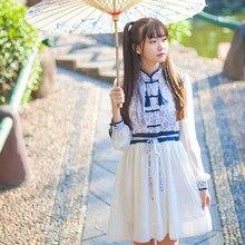 Estilo chino dulce lolita vestido vintage azul y blanco porcelana grano oscuro malla empalme victoriano vestido kawaii chica op loli