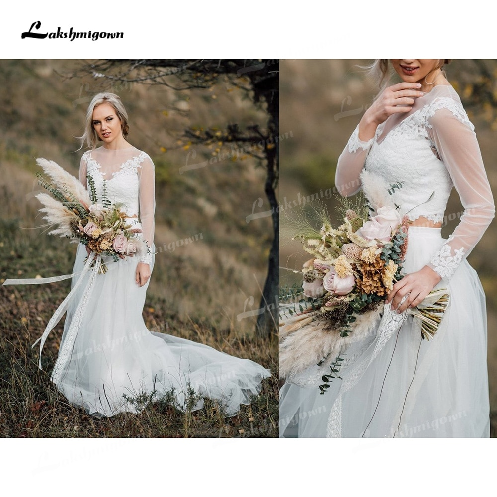 Review Boho Organza And Tulle A-Line Wedding Dresses Two Piece O-Neck Long Sleeve Court Train Bride Gowns Appliques Lace Pleats Elegant