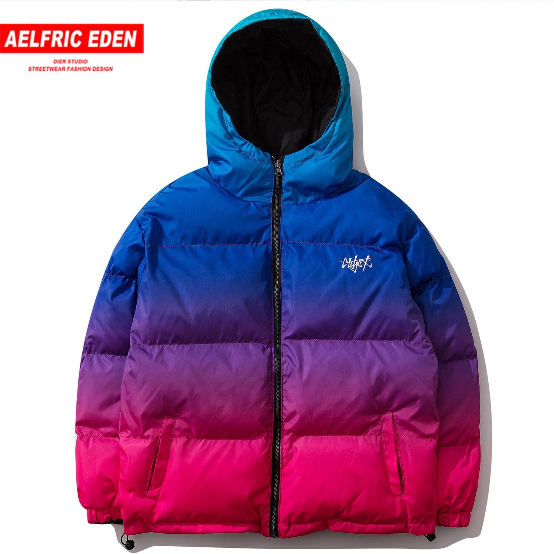 Aelfric Eden gradiente hombre grueso Parkas moda Streetwear Casual cálido chaqueta abrigos 2019 Harajuku Hip Hop algodón Hombre Abrigos