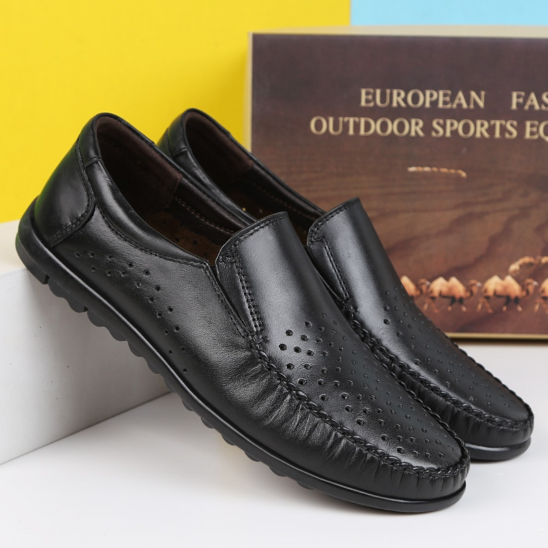 Korean Design Mens Casual Genuine Leather Loafers Men Breathable Slip on Summer Flats Luxury Loafers