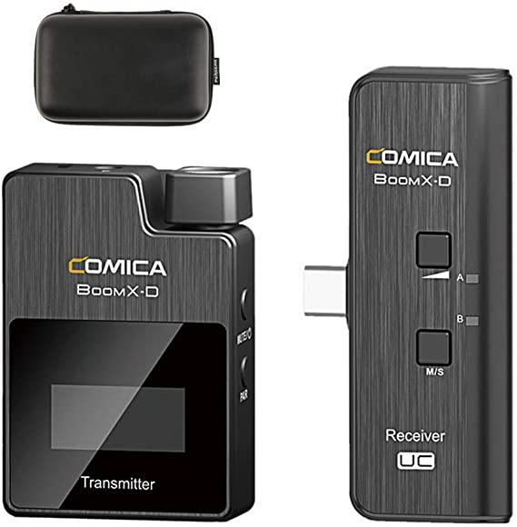 Micrófono inalámbrico Lavalier Digital de 2,4G, sistema de micrófono de teléfono, transmisor y receptor de pantalla OLED, registro recargable