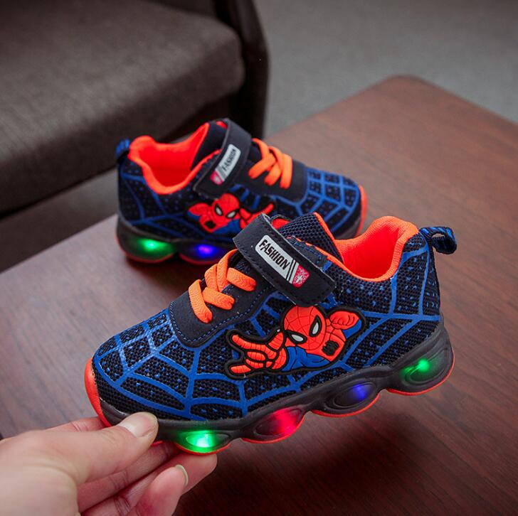 Disney kid Boys Girls LED shoes Spiderman Kids Fashion shoes Girls baby shoes glowing sneakers footwear for Children