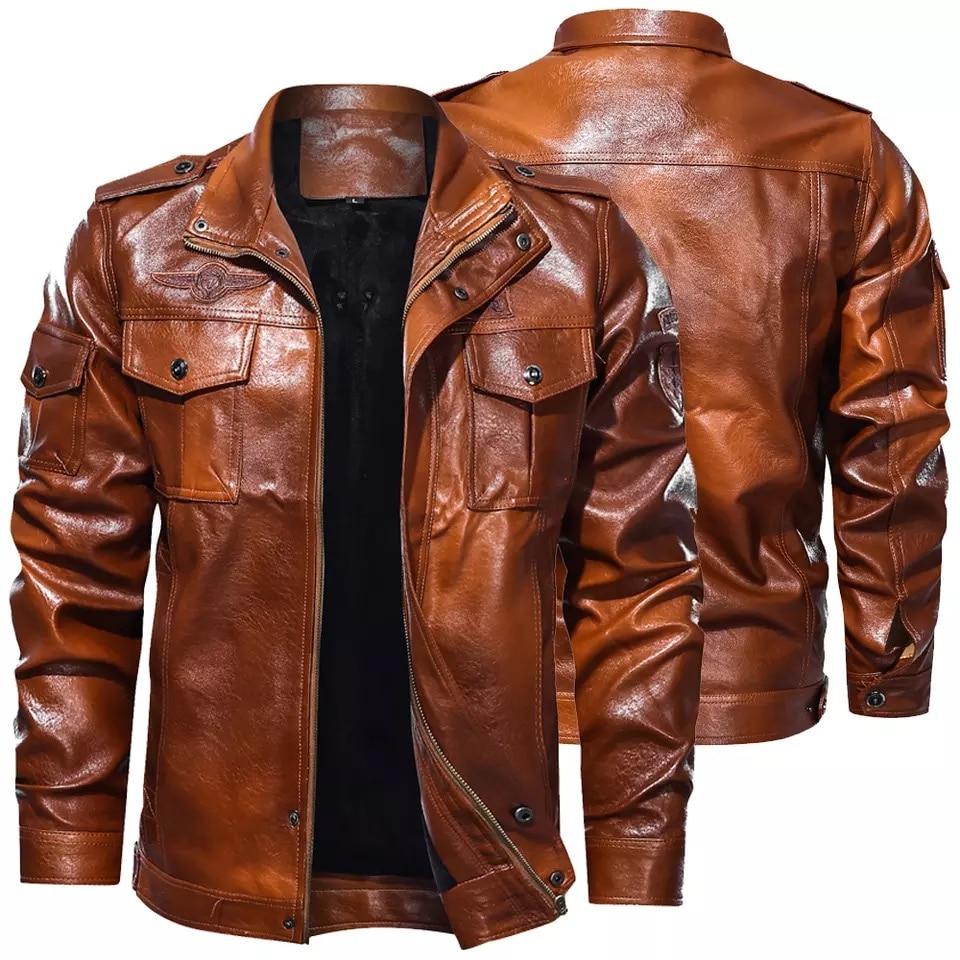Мужская классическая мотоциклетная куртка, зимняя флисовая Толстая мужская кожаная куртка, моторная осенняя куртка на молнии, мужское байк...