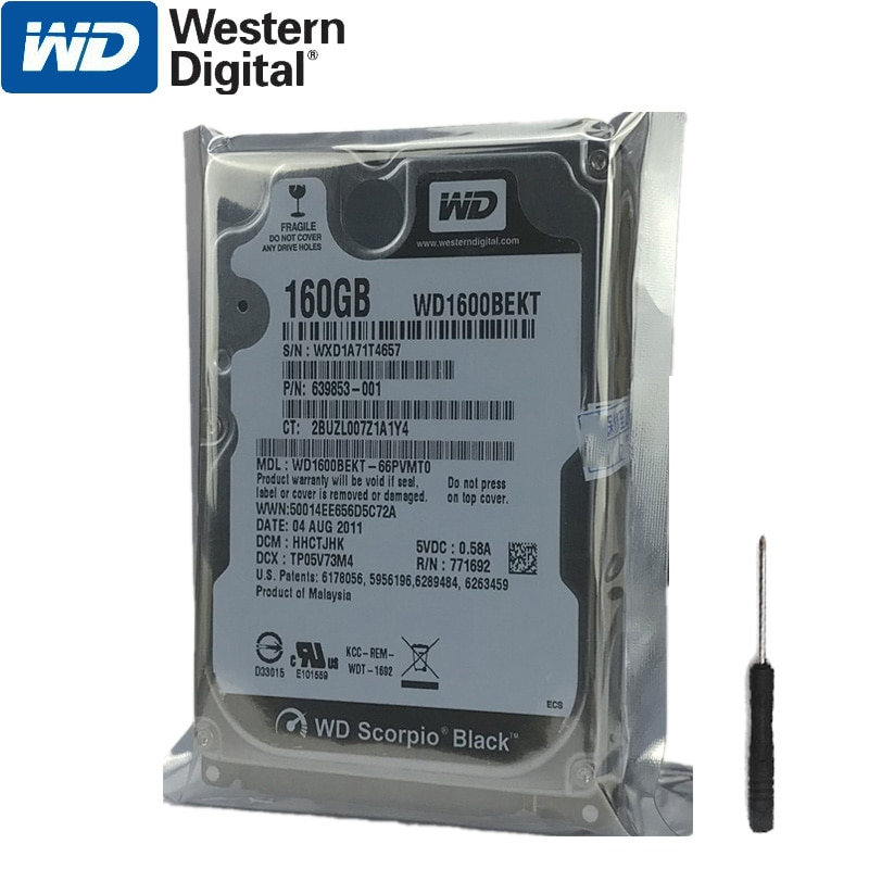 "Disco duro para ordenador portátil WD 160GB, disco duro interno HDD HD SATA II 16MB Cache 7200 RPM 2,5 ""para Notebook PS4"