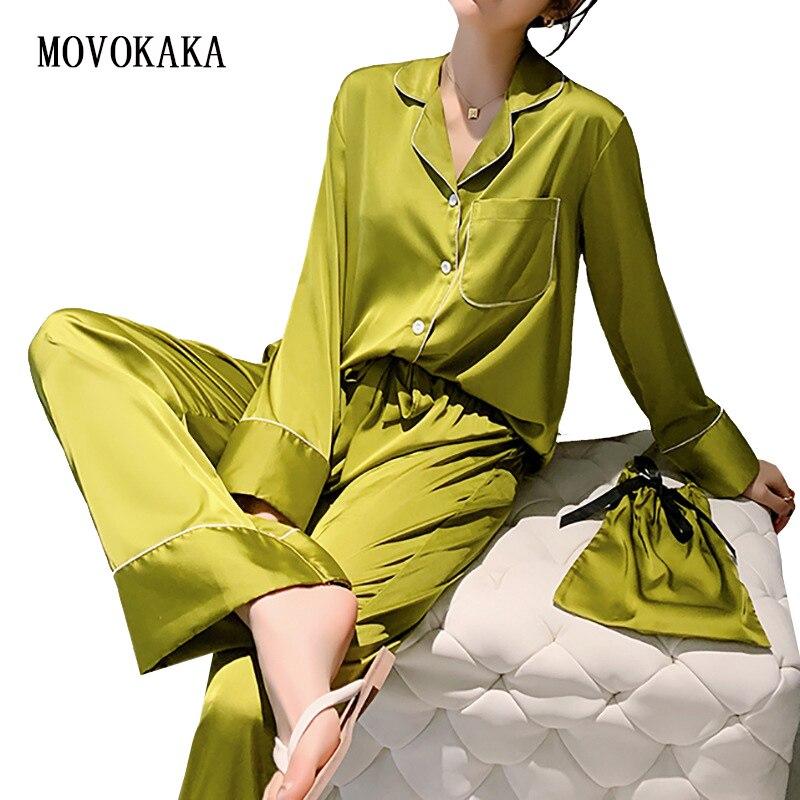 Nuevo pijama de dos piezas para mujer para primavera y otoño, conjunto de pijama holgado, ropa de dormir de satén, ropa de dormir para el hogar, pijama Sexy de seda