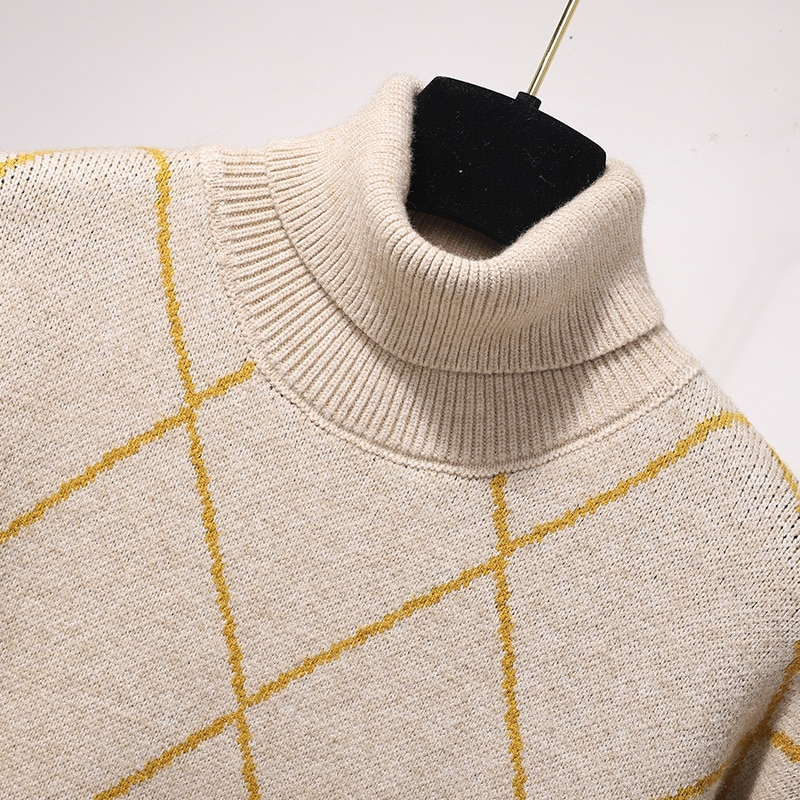 Turtleneck sweater knitting base long skirt in 2021 spriing autumn women's clothing in the grid within a dress female enlarge