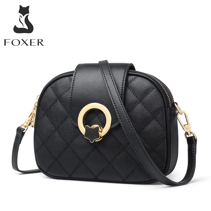 FOXER-حقيبة كتف جلدية متقلب للنساء ، حقيبة سفر ، صغيرة ، مقصورات متعددة ، غير رسمية ، مستديرة ، عصرية