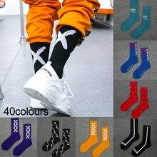 Women Mens Socks Cotton Hip Hop Cool Funny Street Dance Skateboard Socks Personality Girl's Casual Socks Big V Big X Letter Sock