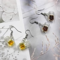 new simulation beer cup earrings fashion creative earring for women gift lady beer wine earring jewelry wholesale