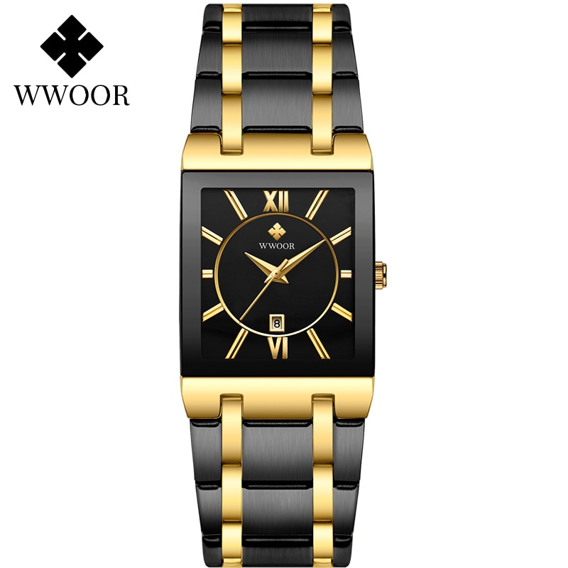 WWOOR New Design Women Bracelet Watches Top Brand Luxury Gold Square Quartz Watch Ladies Dress Waterproof Wrist Watch Gift Clock enlarge