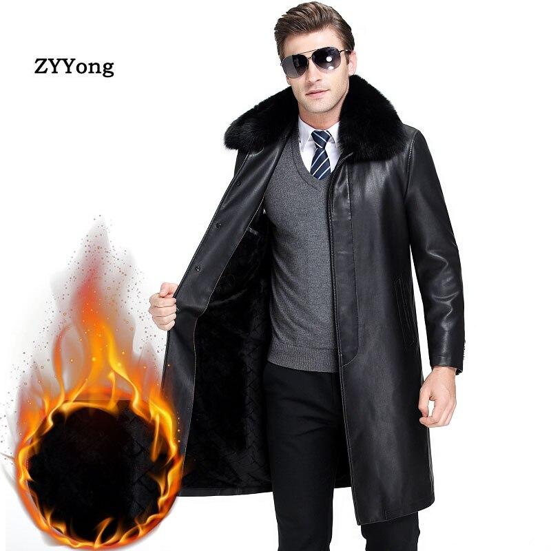 2020 New Winter Mens Casual Plus Velvet Long Sleeve PU Leather Overcoat Tops Zipper Black Outwear Jacket Size M-4XL