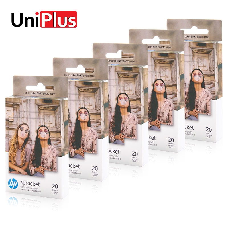Uniplus 5 caixas hp zink bolso foto papel para hp roda dentada impressora de fotos 2-em-1 5*7.6cm telefone foto adesivo papel