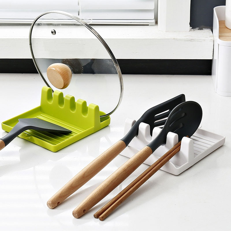 Kitchen Spoon Holders Fork Spatula Rack Shelf Organizer Plastic Spoon Rest Chopsticks Holder Non-slip Spoons Pad Kitchen Utensil