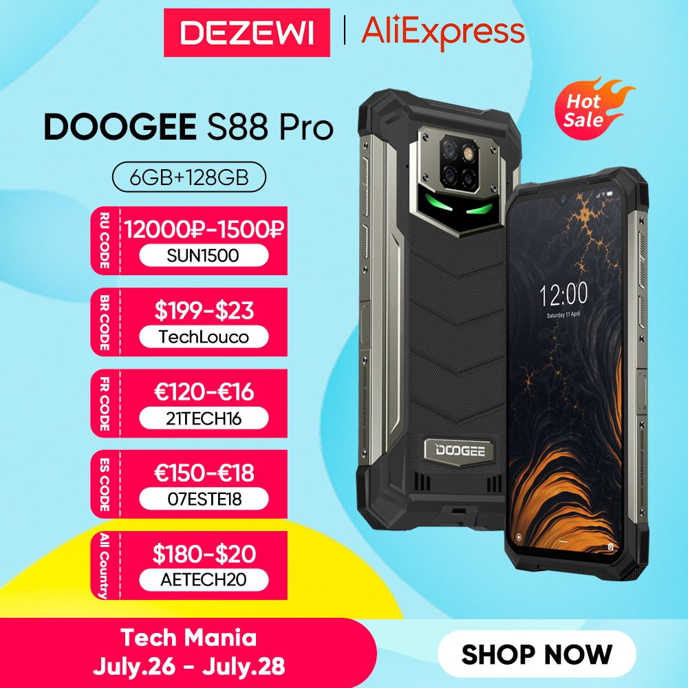 DOOGEE-هاتف ذكي ، S88 Pro ، 6 جيجابايت ، 128 جيجابايت ، متين ، شحن عكسي ، بطارية كبيرة 10000 مللي أمبير ، معالج Helio P70 ، ثماني النواة ، هاتف ذكي