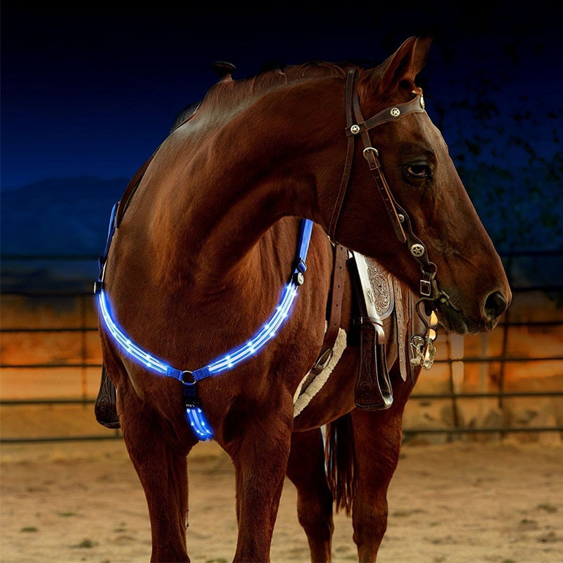 LED Horse Harness Breastplate Nylon Webbing Night Visible Horse Riding Equipment Paardensport Racing Cheval Equitation