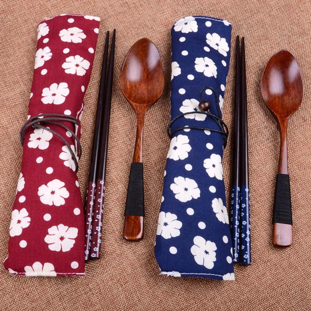 2 uds. De palillos japoneses, juego de cubiertos de madera Vintage portátil, respetuosos con el medio ambiente, palillos de madera, cuchara, traje de viaje A1216