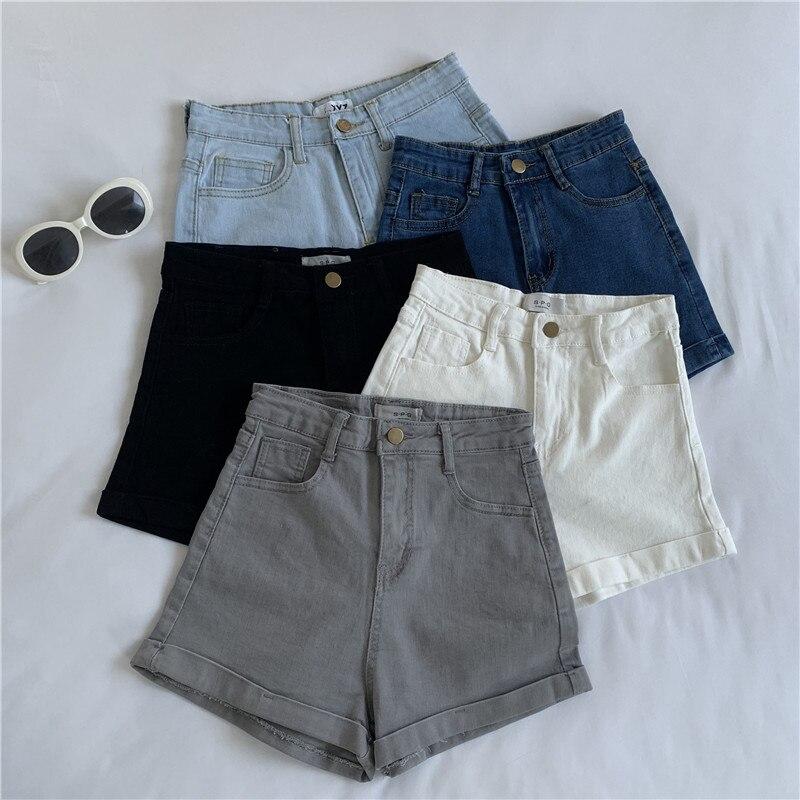 Simples Skinny Jeans Shorts Sólidos Cintura Alta Shorts Jeans Mulheres Verão 2020 moda de Algodão Coreano Preto Branco Sexy Shorts Mulheres