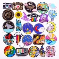 cartoon van gogh embroidered patches for clothing thermoadhesive patches outdoor travel applique iron on patches on clothes sew