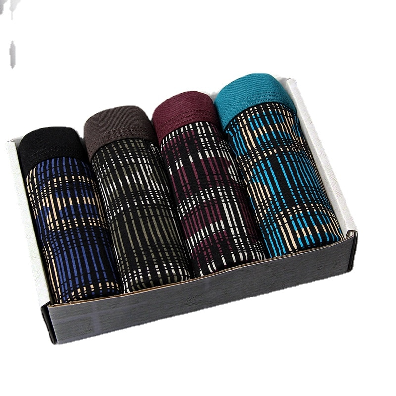Factory Taobao One Piece Dropshipping 4 Pack Men's Modal Boxer Shorts Baibaokang Gift Box Printed Un