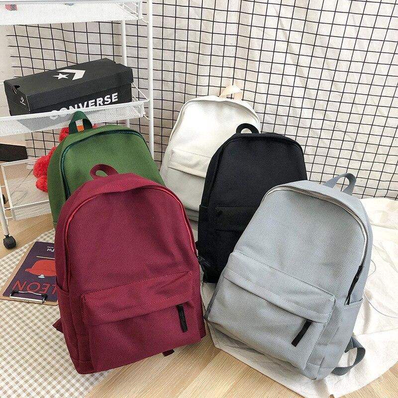 Школьные рюкзаки для девочек-подростков, одноцветные парусиновые повседневные стильные женские рюкзаки для путешествий, спорта на открыто...