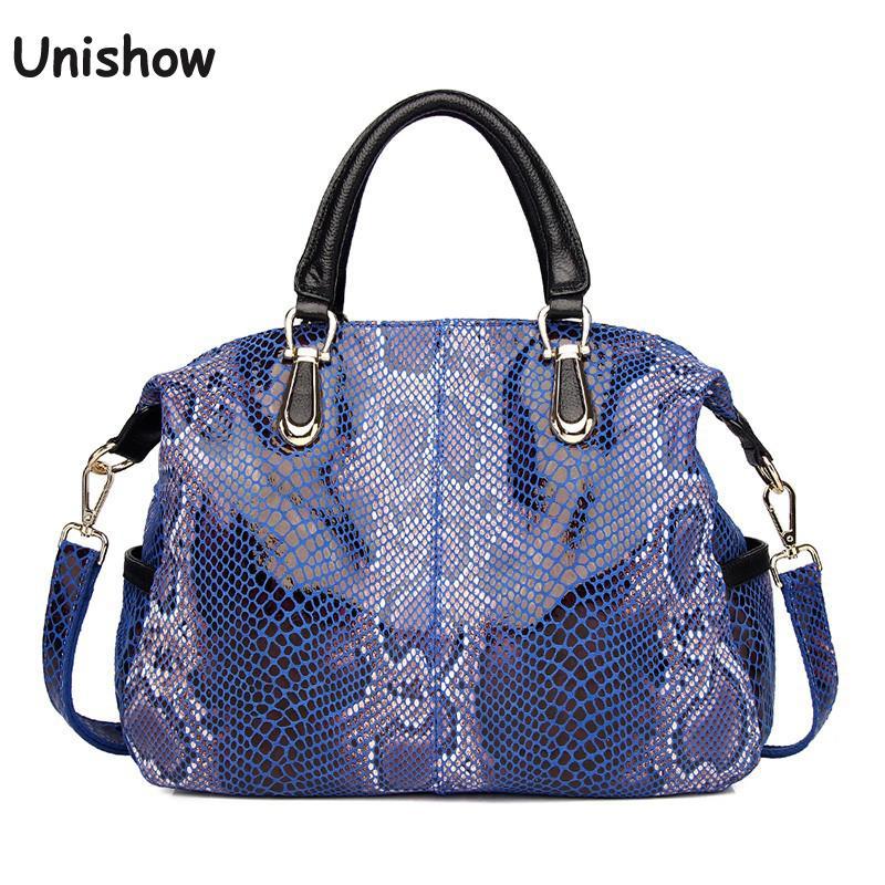 حقيبة يد جلد طبيعي بنمط سربنتين للنساء ، حقيبة حمل كبيرة من جلد البقر ، حقيبة كتف كبيرة للنساء