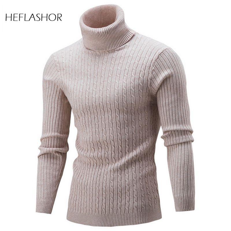 HEFLASHOR otoño suéter cálido de cuello alto hombres moda sólida de punto hombres suéteres 2020 Casual masculino cuello doble suéter Delgado