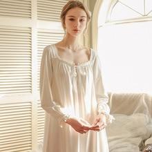 Rose blanc chemise de nuit vêtements de nuit femmes printemps automne à manches longues chemise de nuit en vrac femmes princesse chemise de nuit confortable