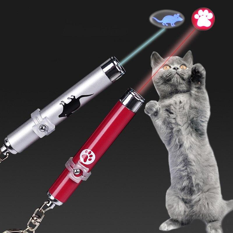 Juguete interactivo LED de entrenamiento divertido para gatos, bolígrafo con puntero láser, juguetes para gatos, bolígrafo de puntero láser con luz LED con animación ratón brillante