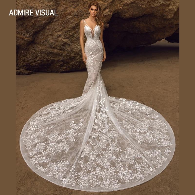 أحدث فستان زفاف حورية البحر الدانتيل العميق الخامس الرقبة طويلة مفتوحة الظهر مخصص حجم كبير ثوب العروس 2021 Vestidos De Novia