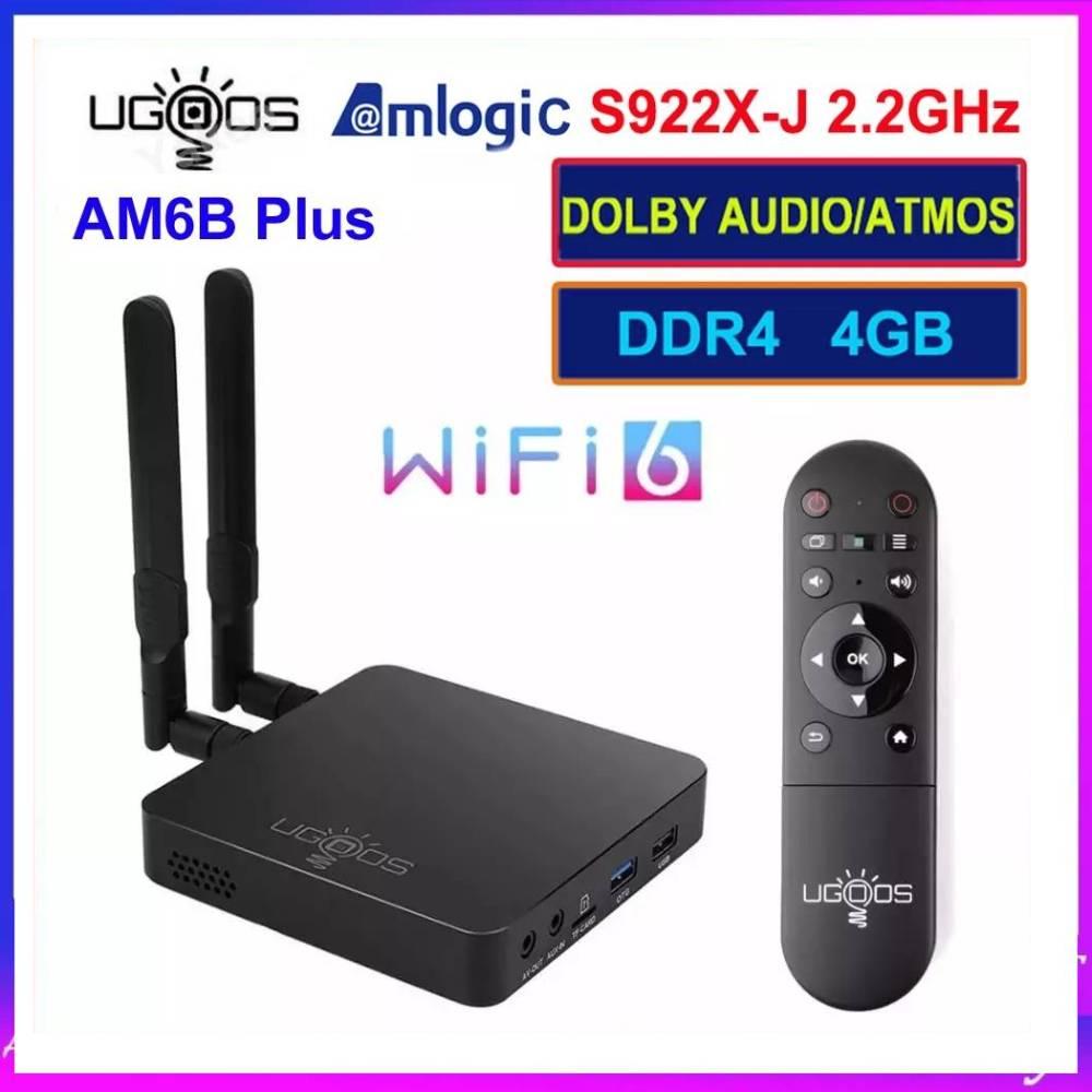 UGOOS الذكية AM6B زائد أندرويد 9.0 صندوق التلفزيون واي فاي 6 1000 متر Lan Amlogic S922X-J 2.2GHz 4GB RAM DDR4 32GB ROM 4K BT 5.0 AM6Plus TVBOX